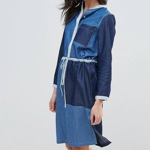 Neon Rose Denim Paneled Shirt Dress